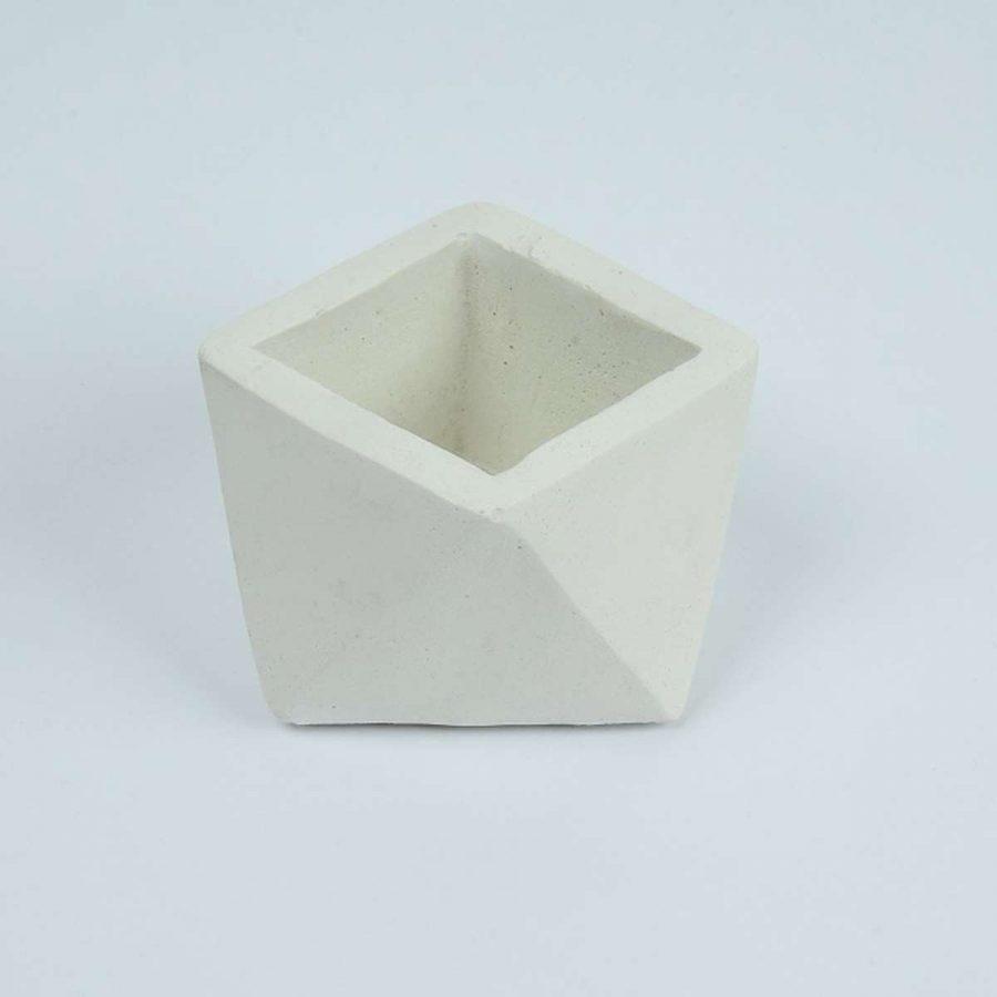 Beton Saksı Beyaz Renk 11x6 cm