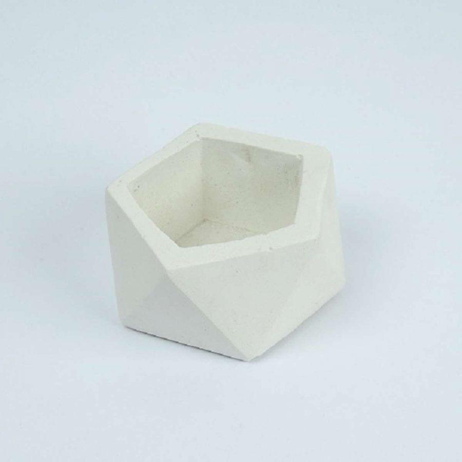 Beton Saksı Beyaz Renk 10x5 cm