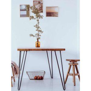 Masif Ağaç Meşe Renk 80x60x3 cm Yemek Masası