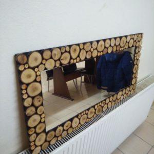 Doğal Ağaç Dilimli Dekoratif Ayna
