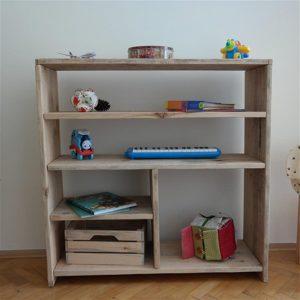 Montessori Masif Ahşap Çocuk Oyuncak Rafı