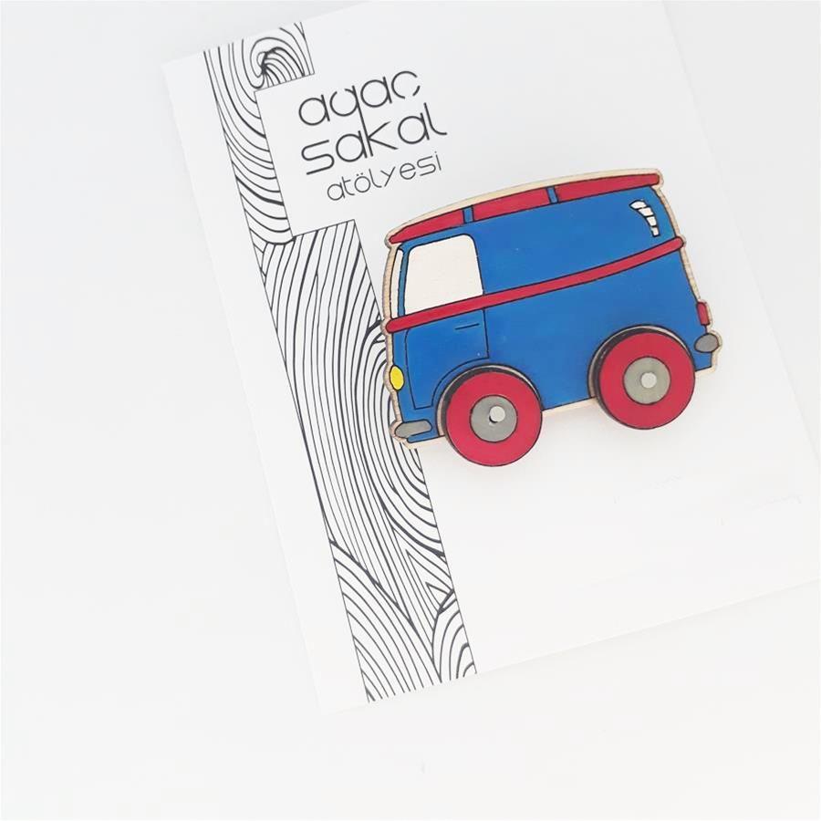 Ahşap El Boyama Minibüs Broş Broş