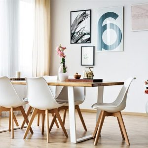 Beyaz Metal Ayaklı Ahşap Yemek Masası