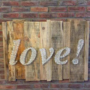 Masif Ahşap Stringart Love Tasarım Tablo