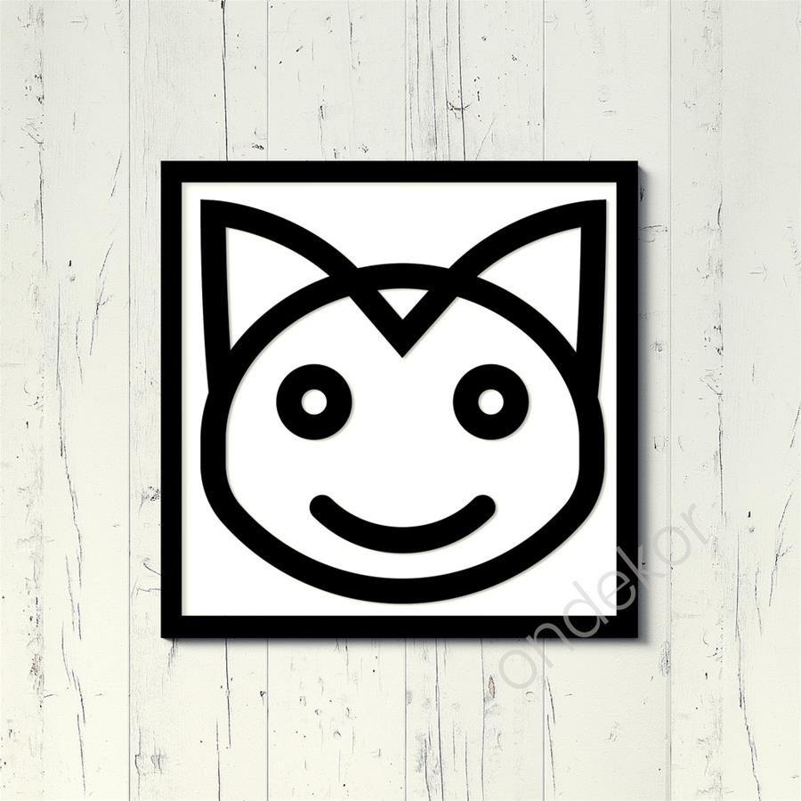 Kedi Emojisi Ahşap Duvar Tablosu