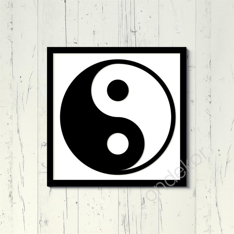 Yin Yang Simgesi Ahşap Duvar Tablosu