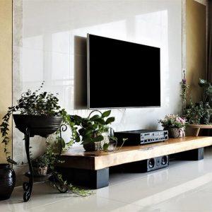 Metal Ayaklı Doğal Ahşap TV Sehpası 150cm