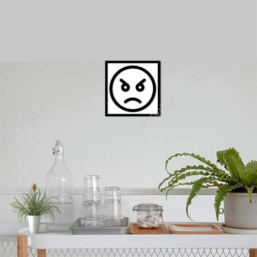 Kızgın Emojisi Ahşap Duvar Tablosu