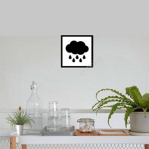 Bulut ve Yağmur Ahşap Duvar Tablosu
