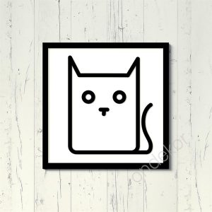 Kedi Figürü Ahşap Duvar Tablosu
