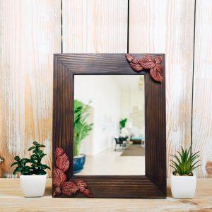 Sepya Yaprak Rölyefli Masif Ahşap Ayna