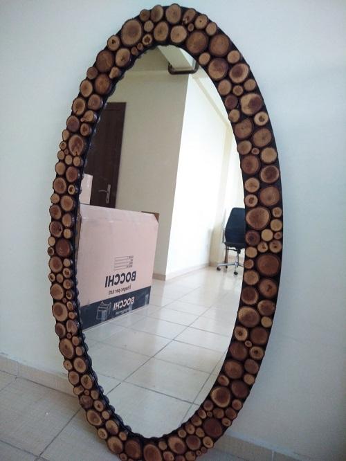 Ağaç dilimli, Doğal, Oval Ayna
