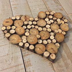 Masif Ahşap Mini Kütük Kalp