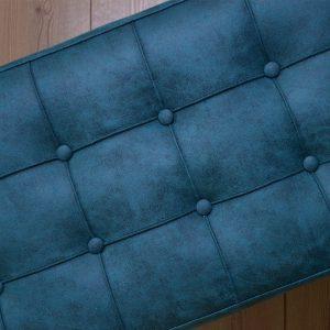 Royce Beyaz Metal Mavi Puf
