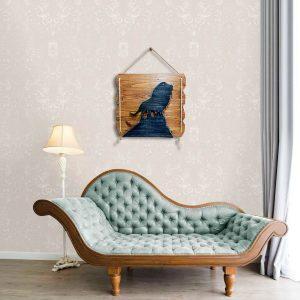 Aslan figürlü ahşap dekoratif tablo