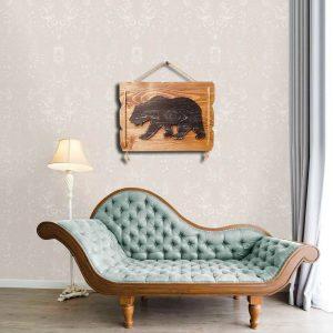 Ayı figürlü ahşap dekoratif tablo