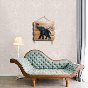 Fil figürlü ahşap dekoratif tablo