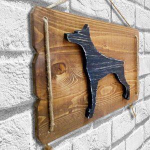 Köpek figürlü ahşap dekoratif tablo