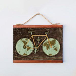 Dekoratif Ceviz Rengi Vintage Bisiklet Dünya Haritası