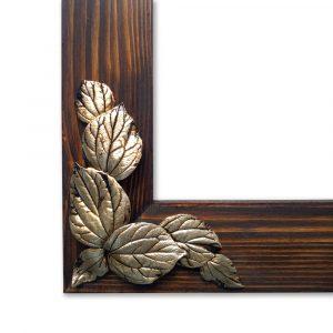 Gümüş Yaprak Rölyefli Masif Ahşap Ayna