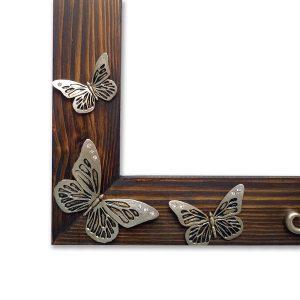 Gümüş Renk Kelebek rölyefli ahşap ayna