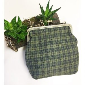 Yeşil Ekose Vintage Stil Klips Çanta