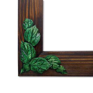 Yeşil Yaprak Rölyefli Masif Ahşap Ayna